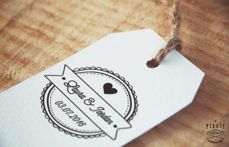 Tampon de mariage personnalisé en bois personnalisé Prénom et Date du Mariage – Macaron  Etiquette