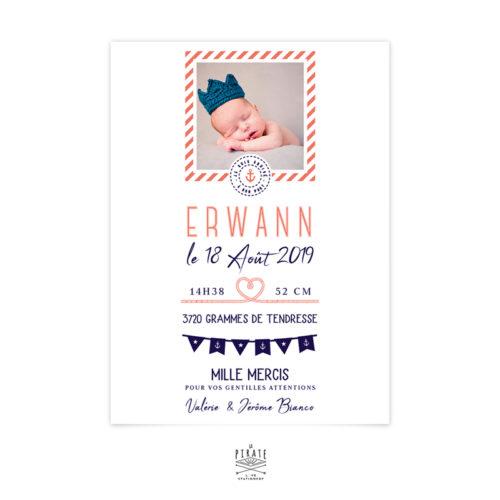 Faire-part naissance marin personnalisé avec la photo de votre enfant - Faire-part naissance personnalisé sur le thème mer, marin, ancre marine- La Pirate