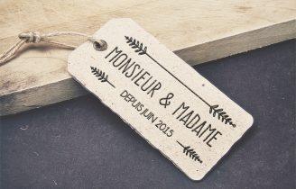 Creation Tampon bois personnalise Mariage Mr & Mme Fleche Etiquette