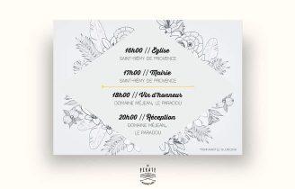 Faire Part Mariage Fleurs et Losange Avec Programme Verso