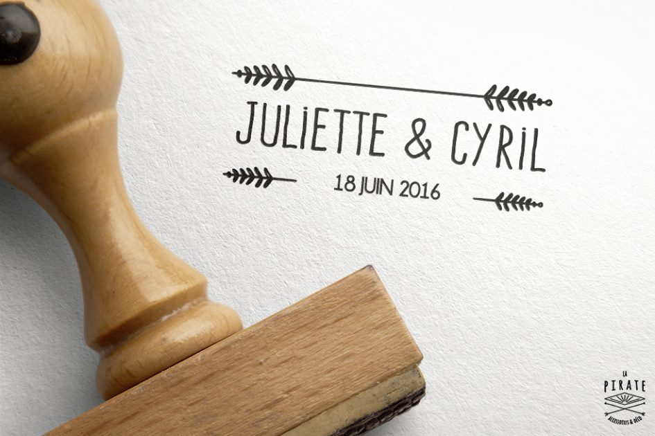Tampon bois personnalise Mariage Mr & Mme Fleche
