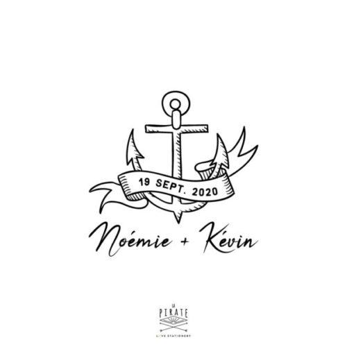Tampon Mariage Ancre Marine thème mer, voyage. Tampon ancre personnalisé avec vos prénoms t date dans une bannière hipster, vintage