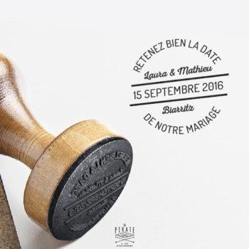 Tampon Mariage en bois personnalise avec prénoms Vintage Save The Date