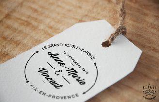 Tampon Mariage en bois personnalise Le grand jour est arrivé Etiquette