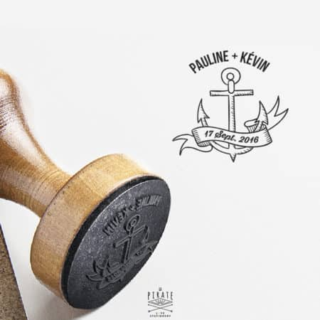 Tampon Mariage Personnalisé Ancre Marine - Banniere Prenoms Date