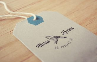 Tampon Mariage Personnalise avec Prenoms et date Oiseau sur la branche Etiquette