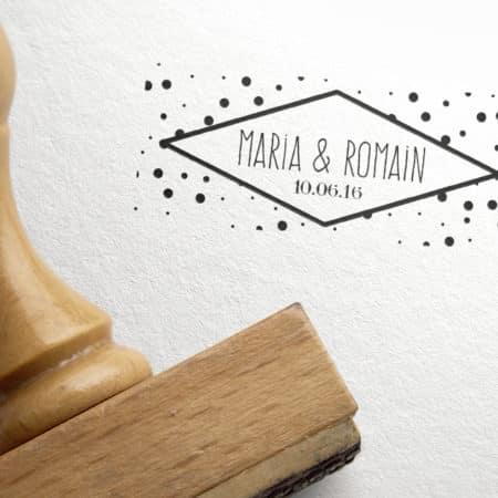 Tampon Mariage personnalisé Prénoms et Petits pois POLKA Dots