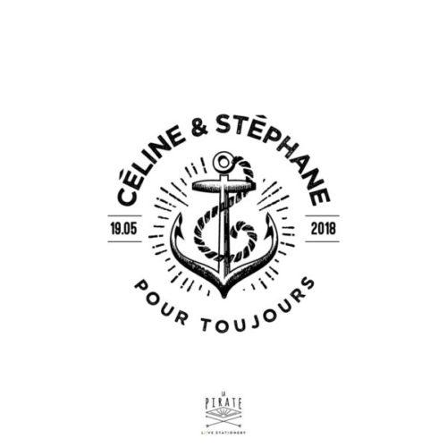 """Tampon Mariage Ancre marine, inscription """"Pour toujours"""" à personnaliser de vos prénoms, pour la papeterie de votre mariage marin, voyage - La Pirate"""