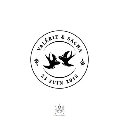 Tampon Mariage Hirondelles, thème vintage, Oiseaux, personnalisé de vos prénoms et date de mariage, dans un thème rétro - La Pirate
