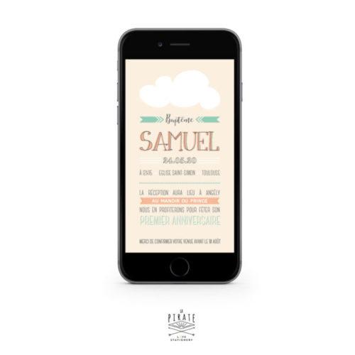 Faire-Part Baptême électronique Nuage - Version électronique à envoyer par e-mail ou SMS - La Pirate