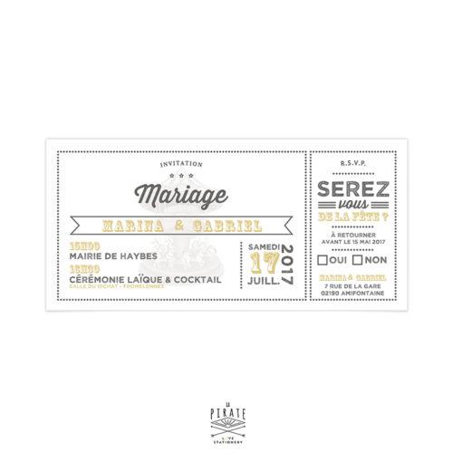 Faire-Part Mariage Carousel Vintage et bohème avec RSVP Mariage guinguette chic, fête foraine