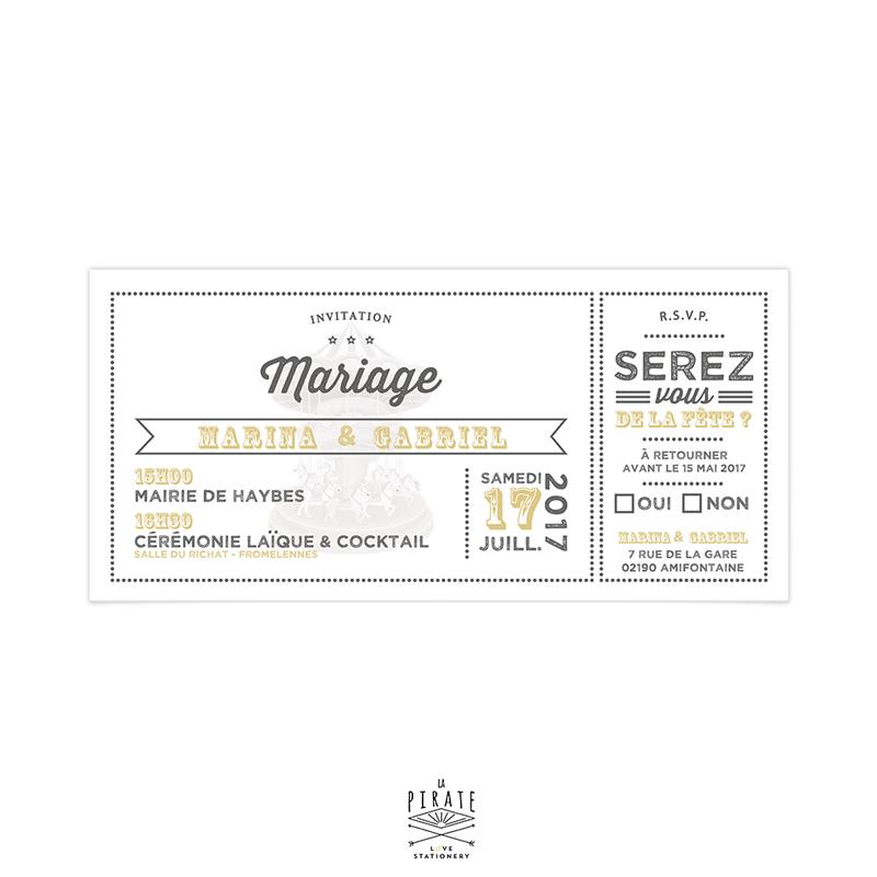 Faire Part Mariage Boheme Carousel Vintage