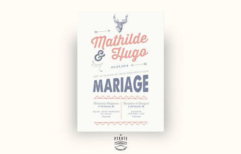 Faire-Part Mariage Tête de Cerf Vintage