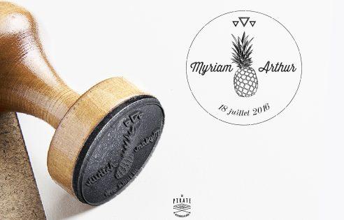 Tampon de Mariage Vintage en Bois personnalisé Fruits Ananas Triangle