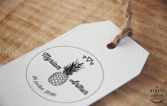 Tampon de Mariage Vintage en Bois personnalisé Fruits Ananas Triangle Etiquette
