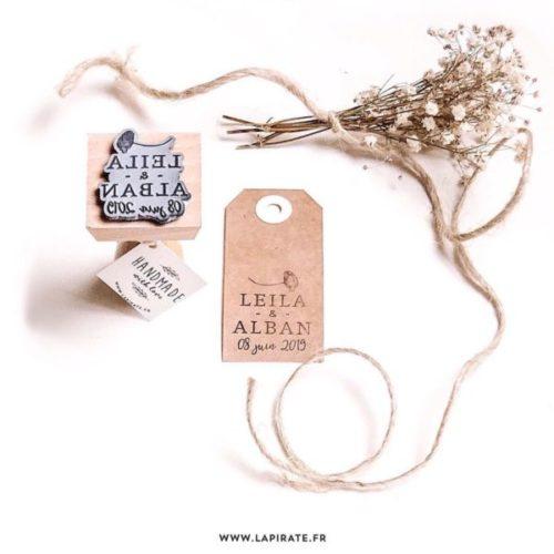 Tampon mariage coquelicot, personnalisé pour votre mariage thème champêtre