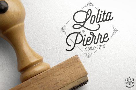 Tampon Mariage Personnalisé Losange Baroque et prénoms calligraphiés