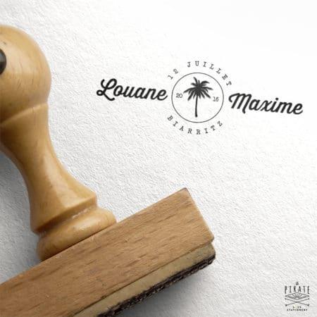 Tampon Mariage personnalisé Palmier Vintage Exotique