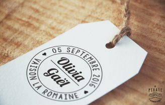 Tampon Mariage Personnalisé Prénoms Style Tampon Postal Vintage Etiquette