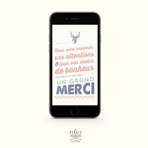 Carte remerciement numérique Mariage personnalisé Tête de cerf Vintage - LA PIRATE