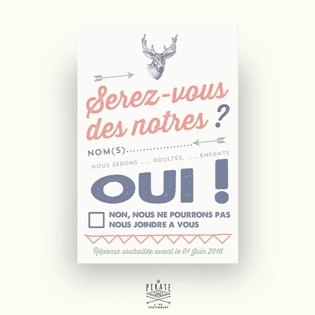 Carton réponse/RSVP de Mariage personnalisé Tête de cerf Vintage - La Pirate