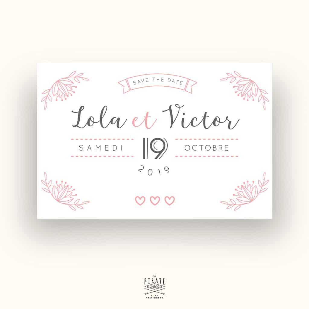 SAVE THE DATE Mariage Shabby Folk Rose poudré et Fleurs Délicates - La Pirate