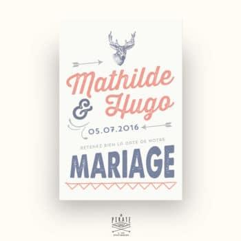 Save The Date Mariage personnalisé Tête de cerf Vintage Cerf - La Pirate
