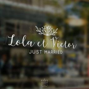 Stickers Voiture Mariage Shabby, personnalisé avec les prénoms et fleur de Lotus Folk - La Pirate