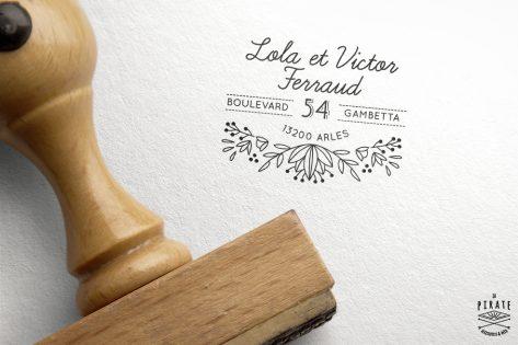 Tampon en bois personnalisé Shabby Folk avec adresse
