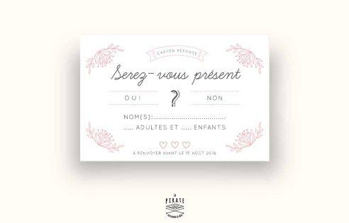 Carton réponse/RSVP de Mariage personnalisé Shabby Folk Rose poudré et Fleurs