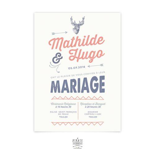 Pour un mariage vintage, dans les bois, un hangar, ce faire-part donnera le ton de votre union sur le thème vintage, Faire-part à tête de cerf personnalisé pour mariage rustique et vintage - La Pirate