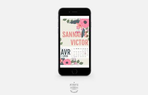 SAVE THE DATE Fleuri avec Calendrier Personnalisé - Version Numérique
