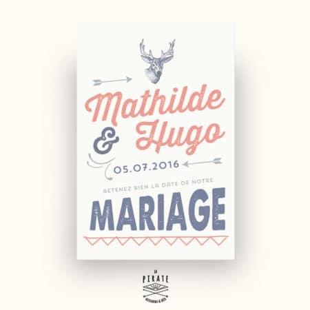 Save The Date Mariage personnalisé Tête de cerf Vintage Corail et Bleu Jeans