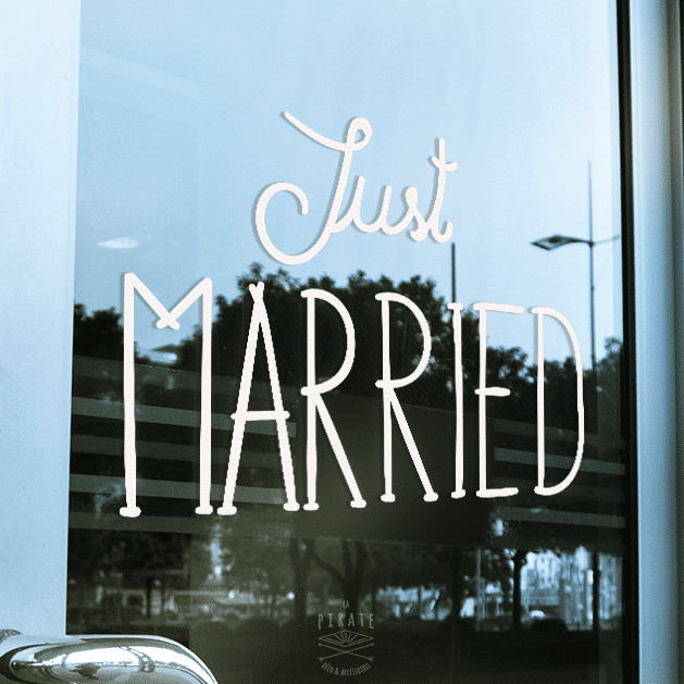 Stickers/Autocollant Vintage Just Married Pour Voiture Mariage