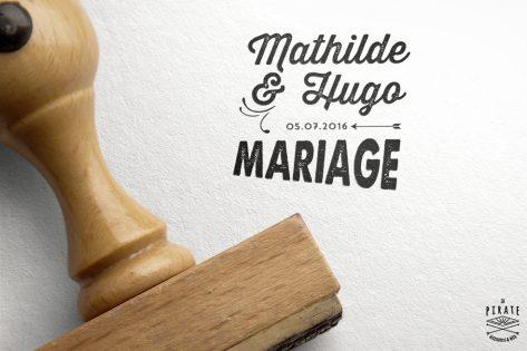 Tampon Mariage Personnalisé Vintage Flèche prénoms mariés et date mariage