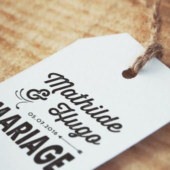 Tampon Mariage Personnalisé Vintage Flèche prénoms mariés et date mariage Etiquette