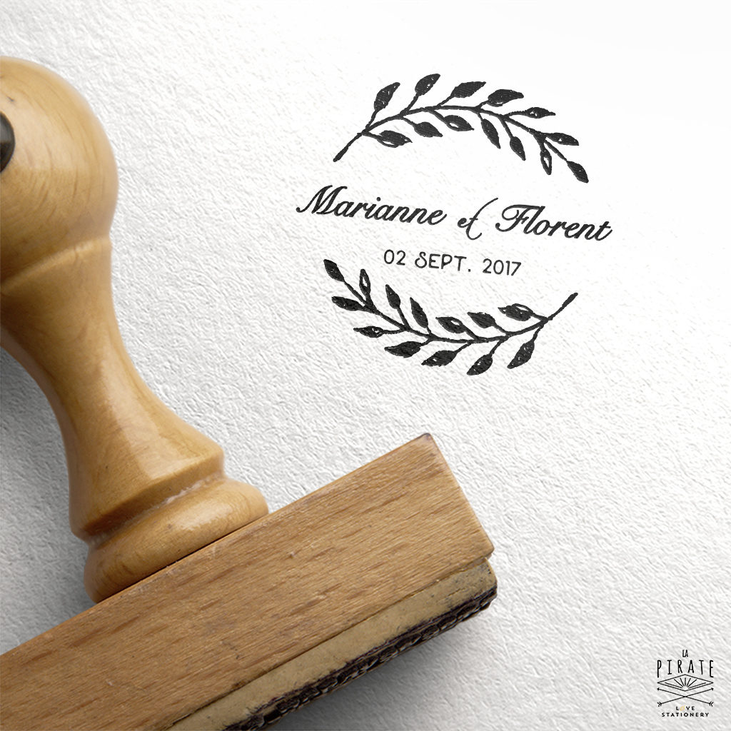 Tampon Mariage Personnalisé Branche Champêtre et Calligraphie