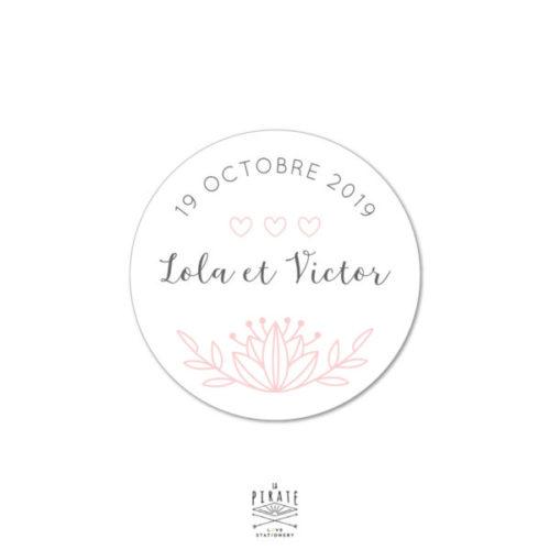 Stickers rond mariage shabby folk - Autocollant Mariage Romantique à personnaliser - La Pirate
