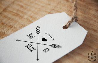 Tampon-de-Mariage-Personnalise-Fleche-et-initiales Etiquette