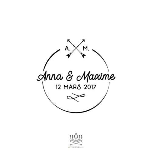 Tampon Mariage Rond Initiales personnalisé avec vos prénoms et initiales pour décorer la papeterie de votre Mariage Vintage - La Pirate