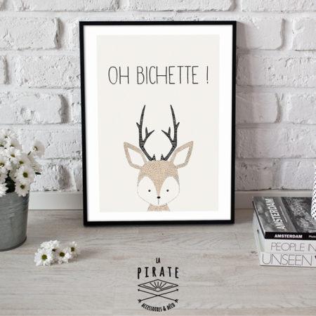 """Affiche à encadrer Petit Cerf """"Oh Bichette !"""""""