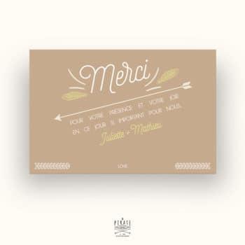 Carton de remerciements Mariage Kraft & Plumes Bohème - La Pirate