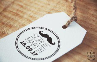 Tampon Mariage personnalisé Moustache Rétro Vintage Hipster Etiquette