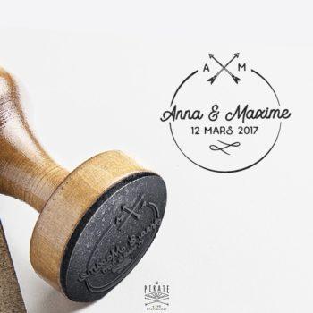 Tampon Mariage Rond Initiales Prénoms des Mariés
