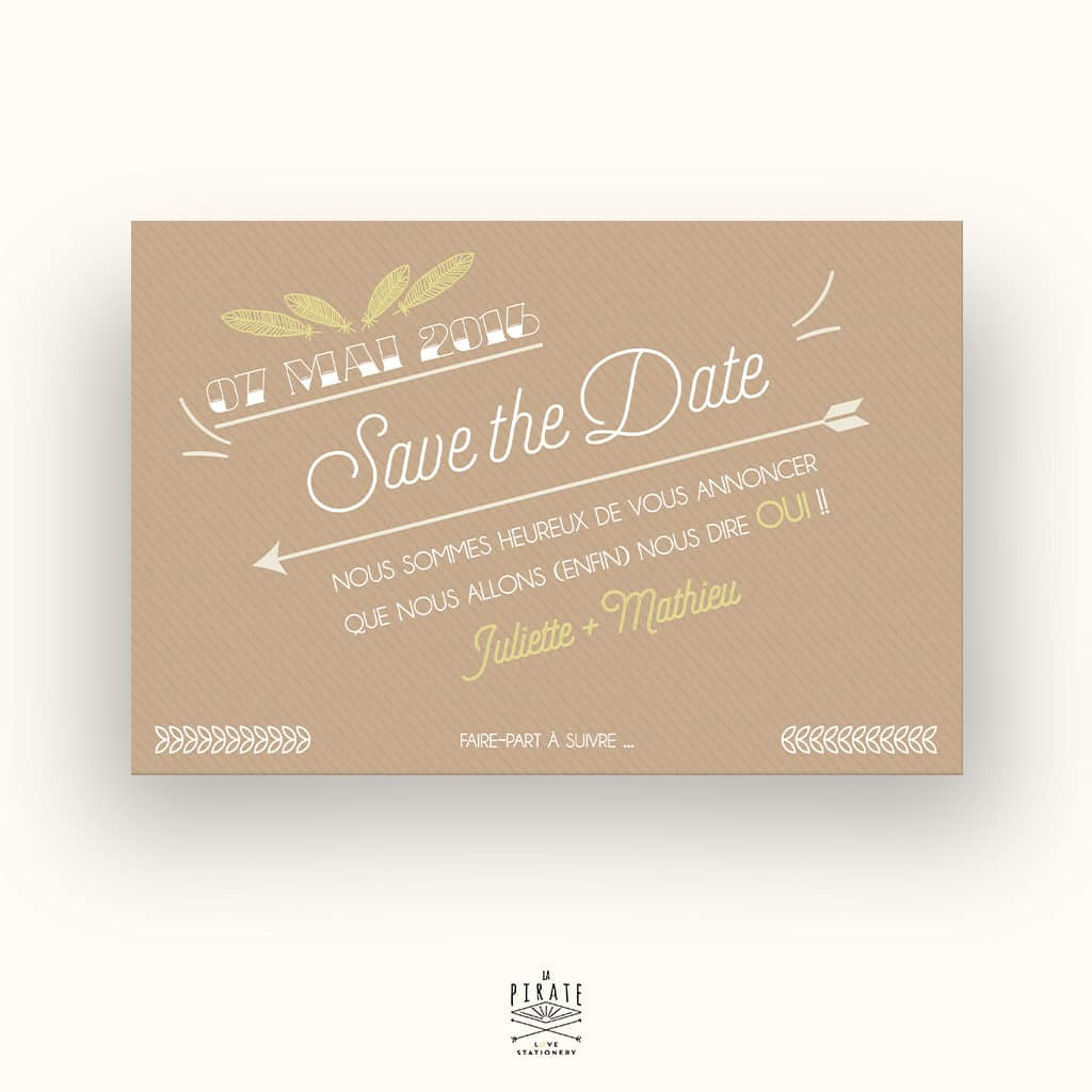 Save The Date Mariage bohème Kraft & plume - La Pirate