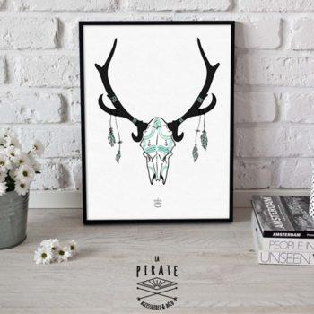 Affiche Crâne Noir et Bleu, bois de cerf et plumes Bohème