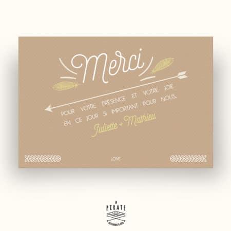 Carton de remerciement Mariage Kraft & Plumes Bohème