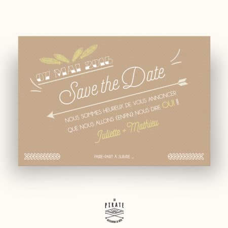 Save The Date Mariage bohème Kraft & plume