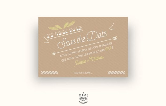 Save The Date Mariage bohème Kraft & plume