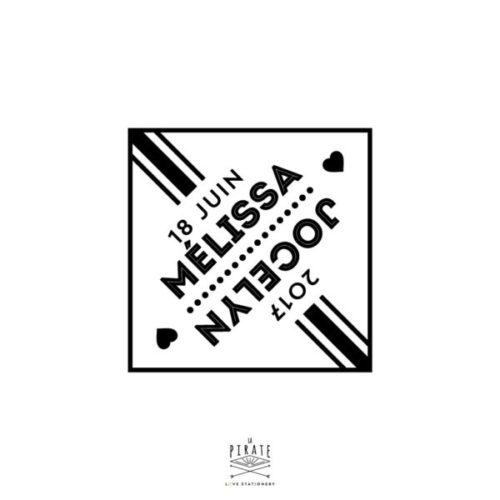 Tampon Mariage Personnalisé de vos prénoms et date de mariage, effet miroir Graphique Losange et Coeur, tampon mariage en bois - La Pirate